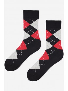 Высокие мужские носки с цветным геометрическим рисунком ромб