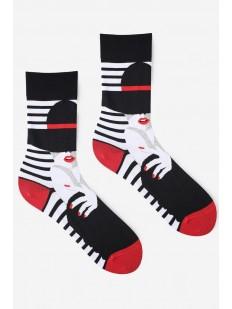Высокие мужские носки с принтом в полоску и дамой в шляпе