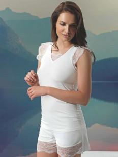 Летняя женская кружевная пижама трикотаж из вискозы