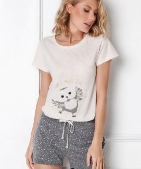 Хлопковая женская пижама с шортами и футболкой с принтом сова