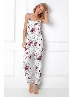 Женская пижама из вискозы с цветочным принтом: брюки и топ
