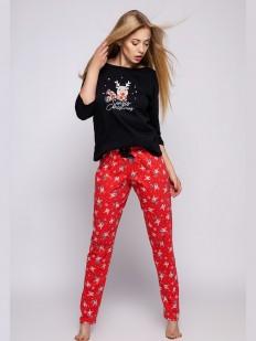 Новогодняя женская пижама с красными штанами и принтом оленей
