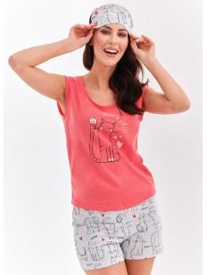 Женская хлопковая летняя пижама с шортами и принтом