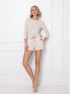 Трикотажный женский пижамный комплект с шортами и принтом совы