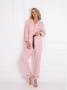 Розовая женская пижама из вискозы: рубашка и брюки с принтом короны