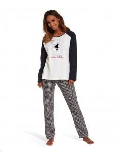 Женская трикотажная пижама со штанами и футболкой лонгслив