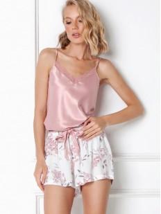 Летняя женская пижама с цветочными шортами и атласным розовым топом