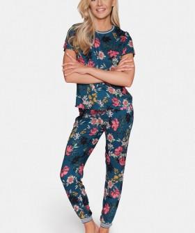 Женская пижама с цветочным принтом: брюки и футболка из вискозы