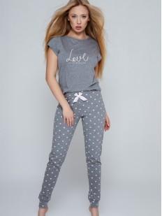 Брючная женская пижама с футболкой серого цвета и надписью LOVE