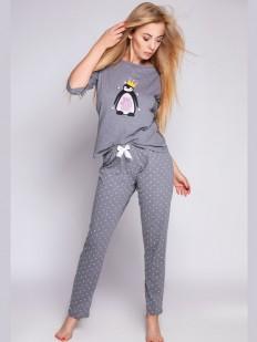 Серая женская пижама с рисунком пингвин и звездочками на штанах