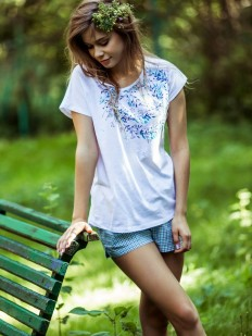Женская хлопковая пижама с клетчатыми шортами KEY LNS