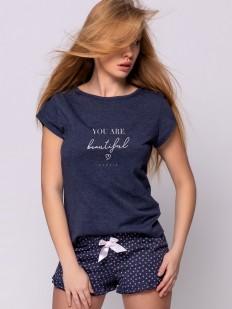 Летняя хлопковая женская пижама с шортами и сердечками