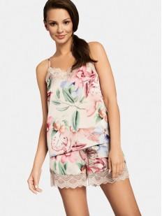 Женская атласная пижама кремового цвета с цветочным принтом: шортики и топ
