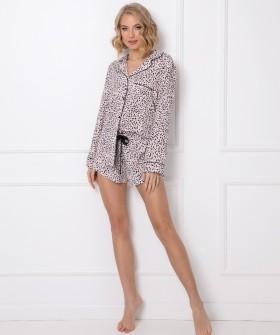 Принтованная женская пижама из вискозы: шорты и рубашка