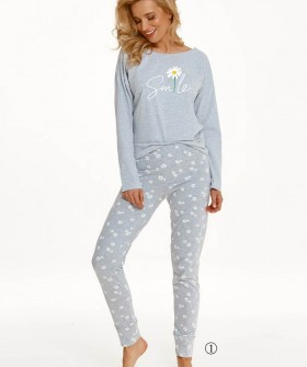 Женская хлопковая пижама с ромашками: брюки и кофта