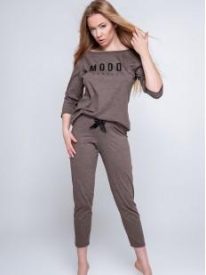 Коричневая женская пижама с укороченными брюками из хлопка