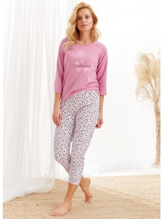 Женская пижама с принтованными брюками и цветочной кофтой