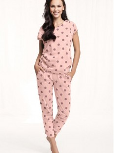 Хлопковая женская пижама с бриджами в горошек