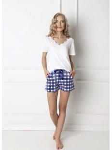 Женская летняя хлопковая пижама с шортами в клетку