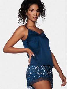 Синяя женская пижама с шортами и атласным топом