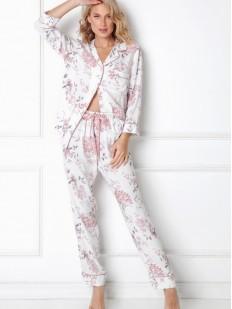 Брючная женская пижама с рубашкой и нежным цветочным рисунком