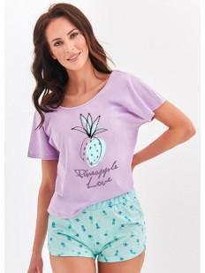 Женская хлопковая пижама с шортами и ярким принтом