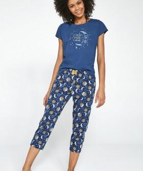 Хлопковая женская брючная пижама с солнцем и луной