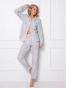 Женский пижамный комплект из байки: брюки и рубашка с принтом