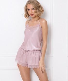 Атласная розовая пижама с шортами и топом