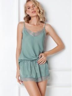 Летняя женская пижама мятного цвета с шортиками и топом