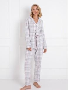 Теплая женская фланелевая пижама: брюки и рубашка в клетку