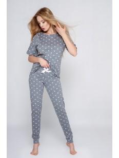 Брючная женская пижама из хлопка с рисунком в сердечко