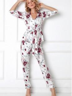 Женский домашний комплект с цветочным рисунком: брюки и жакет