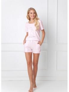 Женская летняя розовая пижама хб с шортами в клетку