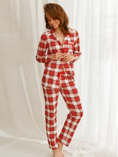 Принтованная женская брючная пижама с рубашкой на пуговицах