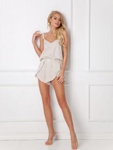 Женская летняя кремовая пижама из хлопка с шортами в клетку