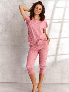 Женская хлопковая пижама с принтом звезды: футболка и брюки капри