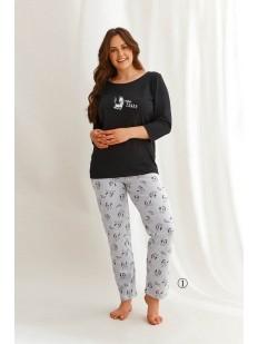 Женская пижама большого размера с принтованными брюками