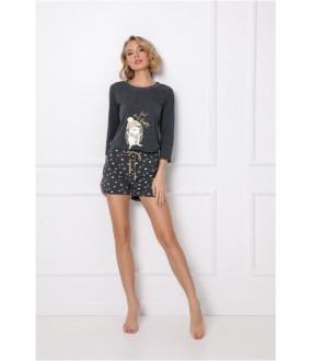 Женская трикотажная пижама с принтом ежики: кофта и шорты