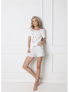 Женская хлопковая пижама с шортами в полоску