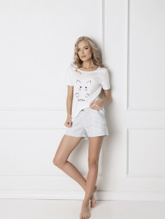 Женская хлопковая пижама с шортами в полоску ARUELLE Catwoman white