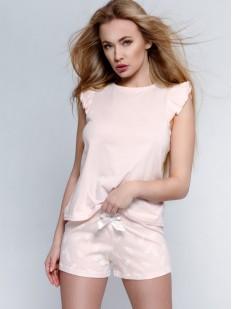 Женская нежно-розовая пижама на лето: футболка с воланами и шорты с перышками