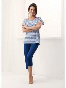 Хлопковая женская пижама с брижами и полосатой футболкой LUNA