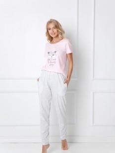 Хлопковая женская пижама со штанами в полоску и розовой футболкой
