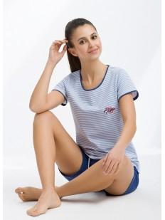 Женская пижама в полоску хлопковая с шортами и футболкой