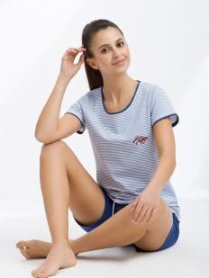 Женская пижама в полоску хлопковая с шортами и футболкой LUNA