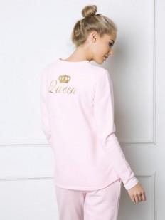 Хлопковая теплая пижама для женщин с короной