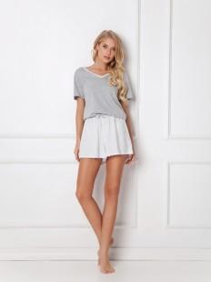 Хлопковая летняя женская пижама с шортами в полоску