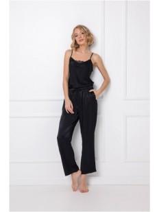 Атласная черная пижама с топом и брюками из вискозы
