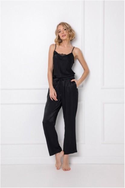 Атласная черная пижама с топом и брюками из вискозы Aruelle DOMINIQUE - фото 1
